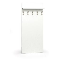 Holzwand mit haken, 5 kleiderhaken, regal, weiß