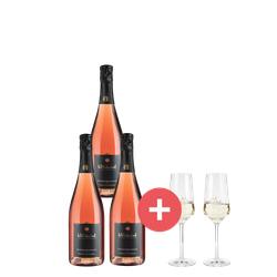 3er-Paket Wilhelmshof Rosé Sekt + GRATIS Schott-Zwiesel Champagner-Gläser - Weinpakete