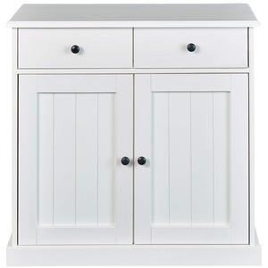 Inter Link Buffet Commode FSC 2 tiroirs et 2 portes Bois Massif blanc