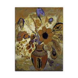 Bilderdepot24 Wandbild, Odilon Redon - Etruskische Vase mit Blumen bunt 30 cm x 40 cm