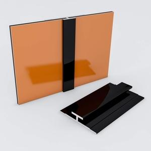 Duschrückwand-Profilsystem Verbindungsprofil Aluprofil Aluminiumprofil für 3mm Duschrückwand Küchenspiegel 300cm schwarz