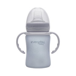 everyday baby Becher Glas-Trinkbecher Straw Cup 150ml grau