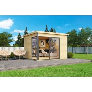 44mm Gartenhaus 300x300cm + Schiebetür + Fußboden Gerätehaus Holzhütte Holz Haus