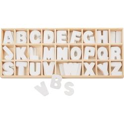 VBS Deko-Buchstaben Buchstabensortiment Holz, 156 weiße Buchstaben
