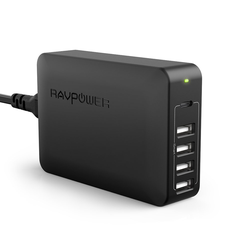 RAVPower USB/USB-C Ladegerät Netzteil, 1x USB-C, 4x USB-A , 45W Power Delivery, 100V-240V AC Eingang