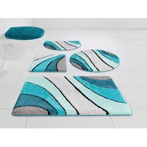 Badematte Josie my home, Höhe 20 mm, Hoch-Tief-Effeckt blau 3-tlg. Stand-WC Set