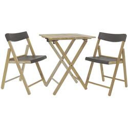 Tramontina Balkonset POTENZA, (Set, 3-tlg., Balkonmöbel), Tisch mit 2 Stühlen, klappbar grau