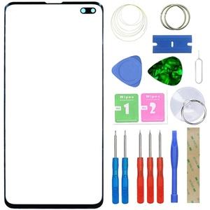MovTEK Frontglas Display Glas Reparatur Set Ersatz für Samsung Galaxy S10 Plus G975 Front Displayglas mit Werkzeug (Schwarz)