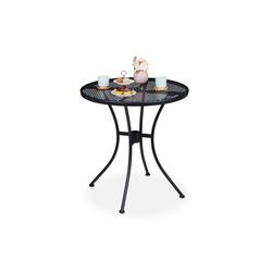 relaxdays Gartentisch Gartentisch mit Schirmloch schwarz