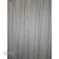 Stores Gardine Vorhang Streifen weiß braun grün transparent H 140 cm x B 290 cm