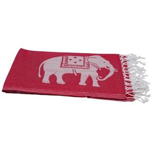 my Hamam Hamamtücher Hamamtuch rot weiß, mit großen Elefanten (1-St), blickdicht