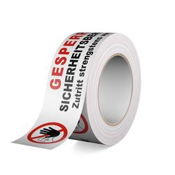 Klebeband - Gesperrt Sicherheitsbereich! Zutritt strengstens verboten! 66m Rolle, 50mm breit