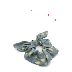 Wishproject® Haargummi Hochwertiges Scrunchie mit Schleife, Zitronenlimo Bunny, XXL Haargummi, Angenehmer Tragekomfort ohne Metall, Hergestellt in Deutschland gelb