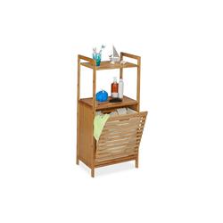 relaxdays Wäschetruhe Wäscheschrank mit Wäschekorb Bambus