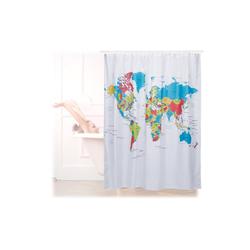 relaxdays Duschvorhang Duschvorhang Weltkarte 180x180 cm Breite 180 cm