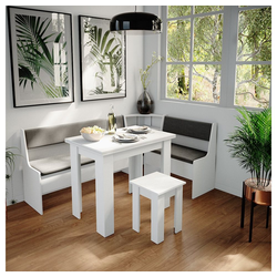 Vicco Sitzgruppe Eckbankgruppe Roman Weiß 180x120cm Esszimmergruppe Eckbank Sitzgruppe