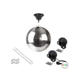 SATISFIRE Discolicht Spiegelkugel Komplettset 40cm mit Motor, 2 x 9W LED Pinspot (RGB)
