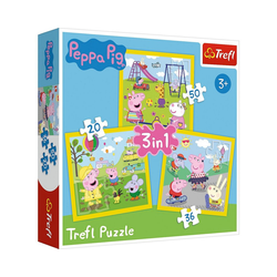 Trefl Puzzle Puzzle 3 in 1 - Peppa's happy day - Peppa Pig, Puzzleteile