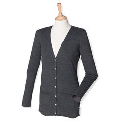 Damen V-Neck Cardigan | Henbury grey marl XS