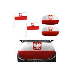 Sonia Originelli Fahne Auto Fan-Paket Haubenfahne Fensterfahnen Spiegelfahnen Magnetflaggen Polen Poland Polska, Fanartikel für das Auto in Polen-Farben Fanset-10XL