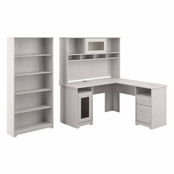 Cabot 60W L Shaped Computer Desk with Hutch and 5 Shelf Bookcase Linen White Oak - Bush Furniture