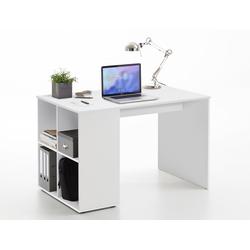 Schreibtisch in weiß mit 4 offenen Ablagefächern, Maße: B/H/T ca. 117/75/73 cm