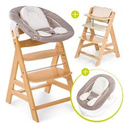 Hauck Hochstuhl Alpha Plus Natur - Newborn Set Holz Hochstuhl ab Geburt + Neugeboreneneinsatz & Wippe Stretch Beige + Sitzpolster