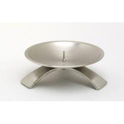 Kommunionkerzenhalter Dreifuß Silber gebürstet kleinem Dorn Ø 9,5 cm für Kommunionkerzen