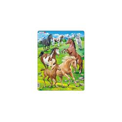 Larsen Puzzle Rahmen-Puzzle, 65 Teile, 36x28 cm, Pferde, Puzzleteile