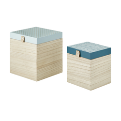 Aufbewahrungsboxen, 2er-Set ¦ blau ¦ MDF ¦ Maße (cm): B: 18 H: 20 T: 18,5