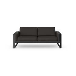 machalke® 2,5-Sitzer frame, Ledersofa mit Kufe in Schwarz grau