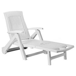 Casaria Gartenliege Gartenliege Zircone Kunststoff Rollen klappbar verstellbare Rückenlehne Rollliege Liegestuhl Weiß