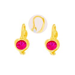 Stella-Jewellery Paar Ohrstecker 585 Gold Kinder Klappbrisur Ohrringe Herz Model 2, Ohrhänger Kinder Mädchen