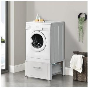 en.casa Unterschrank Comfortixx Stabiles Untergestell für Waschmaschinen und Trockner mit Schublade / 31cm hohes Podest aus Metall