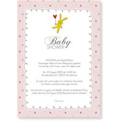 Babyshower Karten (10 Karten) selbst gestalten, Babyshower Häschen - Rosa - Weiß