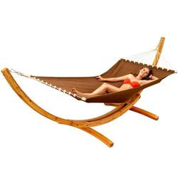 XXL Hängematte mit Gestell Holz Hängemattengestell Sonnenliege Stabhängematte
