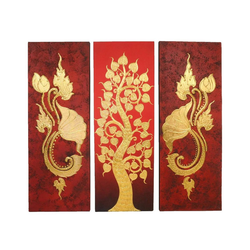 Oriental Galerie Leinwandbild Bild Wand Deko Leinwand Triptychon 100 cm Nr. 6, Baum, Abstrakt (3 Stück), Handarbeit