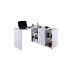 Eckschreibtisch mit Büroschrank (Farbe: weiß)