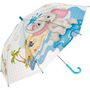 Idena 50046 - Kinderregenschirm für Jungen und Mädchen, mit putzigem Elefantenmotiv auf transparentem Kunststoff, Durchmesser ca. 83 cm, Länge ca. 66 cm