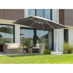 Schneider Schirme Ampelschirm Rhodos Twist Bianco, LxB: 300x300 cm, mit Schutzhülle und Schirmständer, ohne Wegeplatten grau