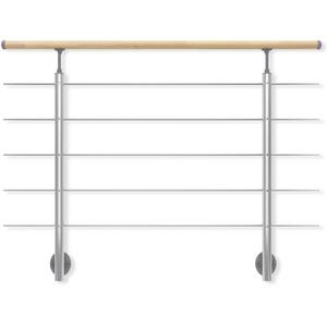 DOLLE Geländer-Set aus Aluminium mit Handlauf aus Buche | Füllstäbe aus Edelstahl | Für seitliche Montage | 150 cm | Als Treppengeländer oder Brüstungsgeländer im Innenbereich geeignet