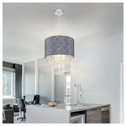 etc-shop LED-Hängeleuchte, Hängelampe Kristall Deckenleuchte Wohnzimmer hängend Pendelleuchte Kristall, Lichteffekt Samt grau, 1x E27, DxH 35 x 150 cm