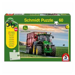 Schmidt Spiele Puzzle John Deere Traktor + SIKU Traktor, 60 Puzzleteile