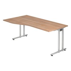 Lüllmann Schreibtisch Freiformtisch Schreibtisch New York 720 x 1800 x 1000/800 mm C-Fuß Design braun