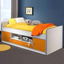 Kinderbett in Weiß-Gelb Stauraum
