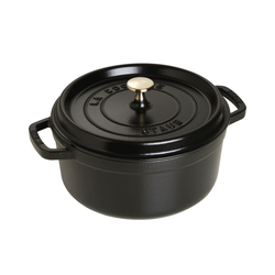 Staub Schmortopf Cocotte in schwarz rund, 24 cm