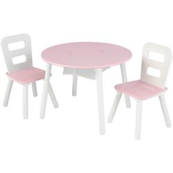 KidKraft Kindersitzgruppe Runder Aufbewahrungstisch (3-tlg) rosa Kinder Ab 3-5 Jahren Altersempfehlung Sitzmöbel-Sets