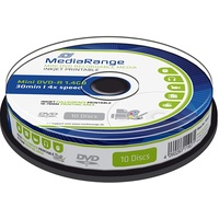 MediaRange mini DVD-R 1.4Gb|30Min 4x Speed, Inkjet Fullsurface Printable, Cake 10, MR430