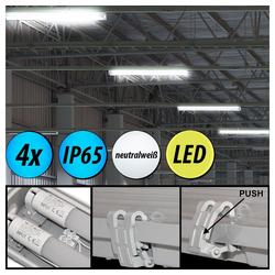 etc-shop Außen-Deckenleuchte, 4er Set LED 44 Watt Wannen Decken Lampen Keller Röhren Nass-Feucht-Raum Leuchten