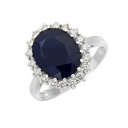 Goldener Verlobungsring mit Saphir und Diamanten Nyah